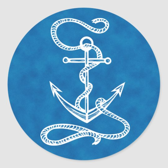 Nautical Ship Anchor Watercolor Blue Ocean Sailor Classic Round Sticker