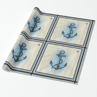 nautical ship anchor wrapping paper