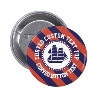 Nautical ship curved text 2 inch round button