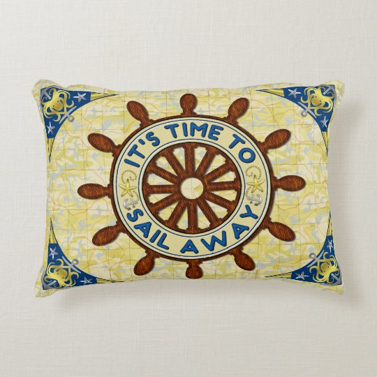 Nautical Ship Helm Wood Wheel Old Map Sail Away Accent Pillow
