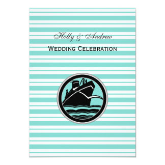 Nautical Ship Lt Blue White Stripe #2 V Wedding Card