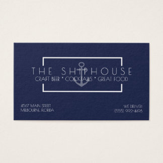 Nautical Ship Navy Blue Restaurant Bar Business Business Card