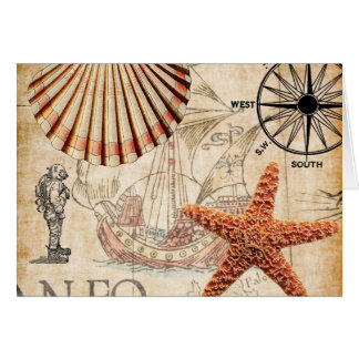 Nautical Ship Shells Diver and Map Card