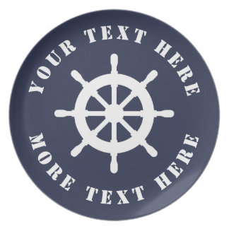 Nautical ship wheel custom melamine dinner plates