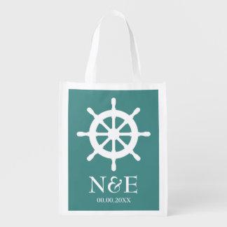 Nautical ship wheel custom reusable wedding bags