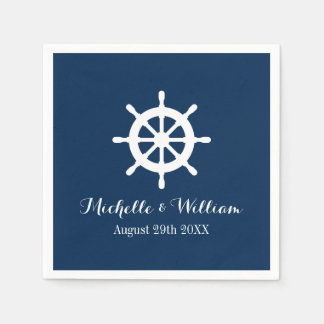 Nautical ship wheel custom wedding party napkins disposable napkin