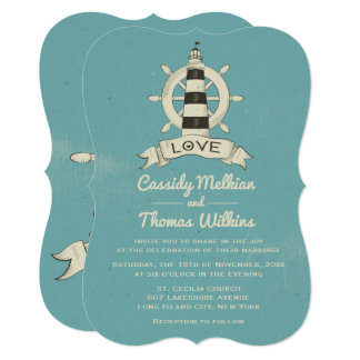 Nautical Ship Wheel Lighthouse Blue Teal Wedding Card