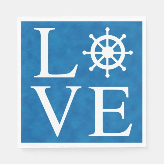 Nautical Ship Wheel Love Watercolor Blue Sailor Disposable Napkin