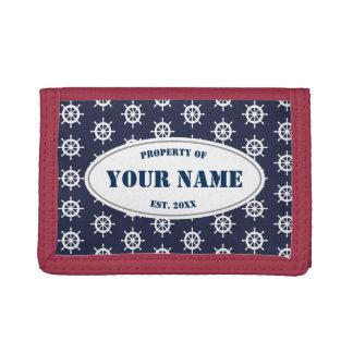 Nautical ship wheel pattern custom wallet gift