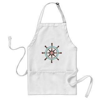 Nautical Ship Wheel with Pink Heart Standard Apron