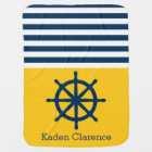 Nautical Ship Wheel with Yellow and Navy Stripes Baby Blanket