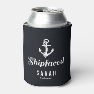 Nautical Shipfaced Bridesmaid Gift Personalized Can Cooler