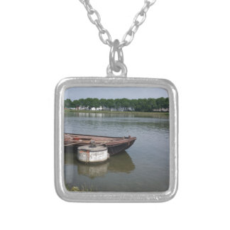 nautical shipping boat buoy, ship rope quay canal silver plated necklace