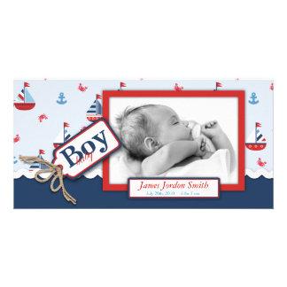 Nautical Ships Ahoy! Birth Announcement Card