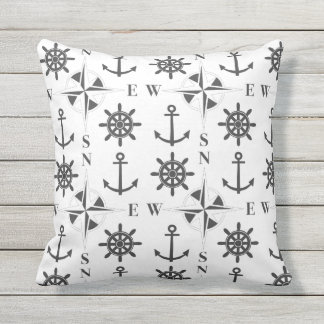Nautical Ships Helm Compass Anchors Black & White Throw Pillow