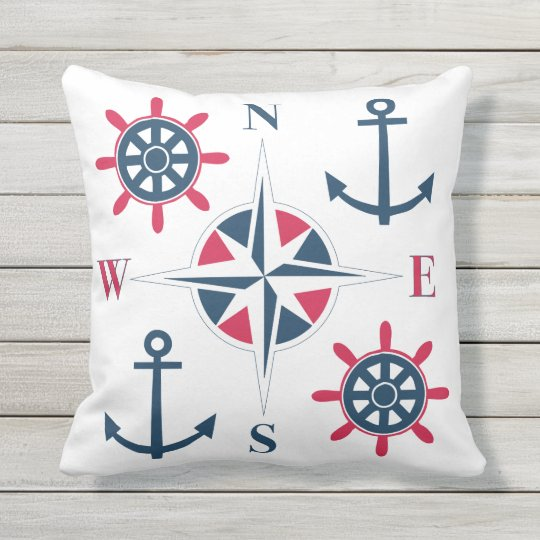 Nautical Ships Helm Compass Anchors Navy Red White Throw Pillow
