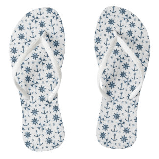 Nautical Ships Helm Compass Anchors Navy White Flip Flops