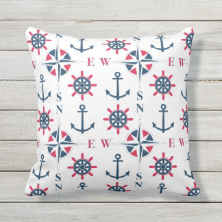 Nautical Ships Helm Compass Anchors Navy White Red Outdoor Pillow