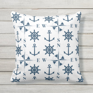 Nautical Ships Helm Compass Anchors Navy White Throw Pillow