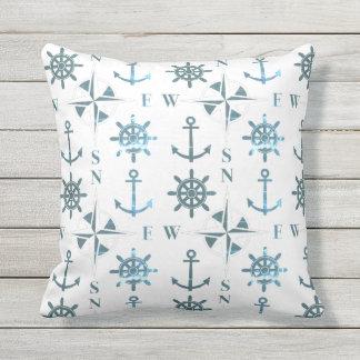 Nautical Ships Helm Compass Anchors Patina Outdoor Pillow