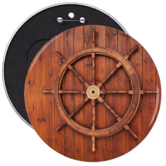 Nautical Ships Helm Wheel on Wooden Wall 6 Inch Round Button