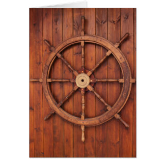 Nautical Ships Helm Wheel on Wooden Wall Card