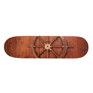Nautical Ships Helm Wheel on Wooden Wall Custom Skate Board