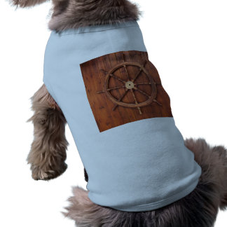 Nautical Ships Helm Wheel on Wooden Wall Dog Shirt