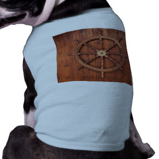 Nautical Ships Helm Wheel on Wooden Wall Dog T-shirt