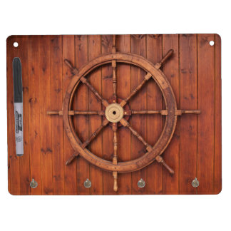 Nautical Ships Helm Wheel on Wooden Wall Dry-Erase Boards