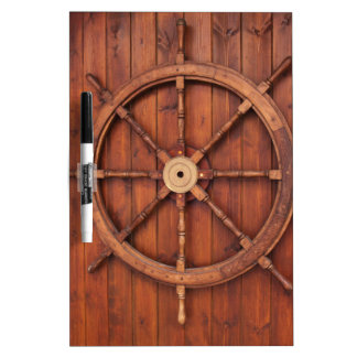 Nautical Ships Helm Wheel on Wooden Wall Dry Erase White Board