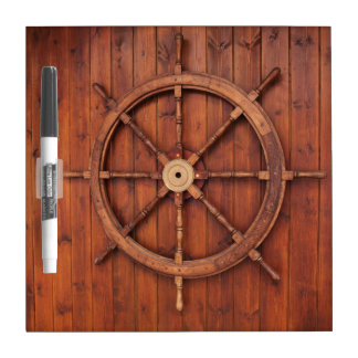Nautical Ships Helm Wheel on Wooden Wall Dry-Erase Whiteboards