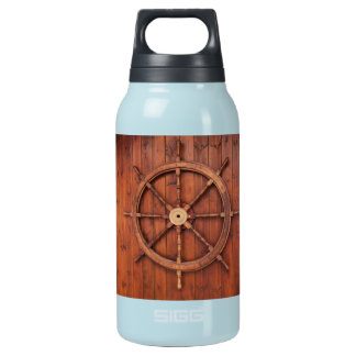 Nautical Ships Helm Wheel on Wooden Wall Insulated Water Bottle