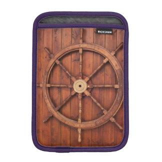 Nautical Ships Helm Wheel on Wooden Wall iPad Mini Sleeve