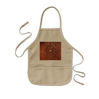 Nautical Ships Helm Wheel on Wooden Wall Kids Apron
