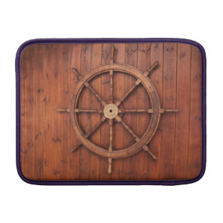 Nautical Ships Helm Wheel on Wooden Wall Sleeve For MacBook Air