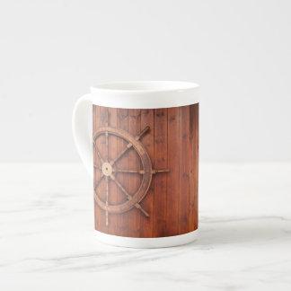 Nautical Ships Helm Wheel on Wooden Wall Tea Cup