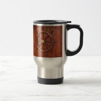 Nautical Ships Helm Wheel on Wooden Wall Travel Mug