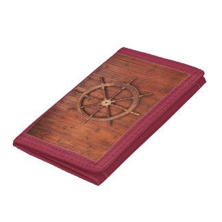 Nautical Ships Helm Wheel on Wooden Wall Tri-fold Wallet