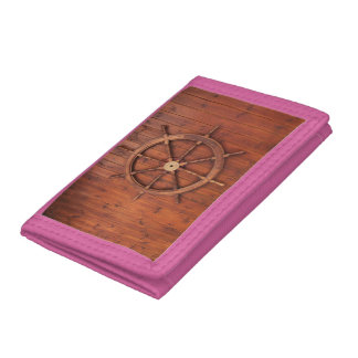 Nautical Ships Helm Wheel on Wooden Wall Trifold Wallet