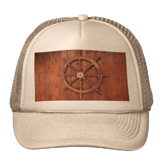 Nautical Ships Helm Wheel on Wooden Wall Trucker Hat