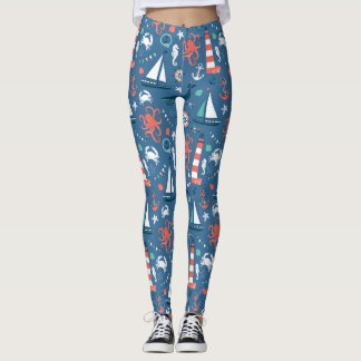 Nautical Ships Whales and Lighthouses Leggings