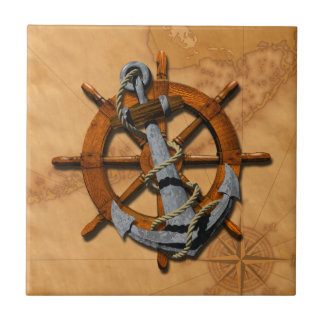 Nautical Ships Wheel And Anchor Ceramic Tile