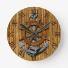 Nautical Ships Wheel And Anchor Round Clock