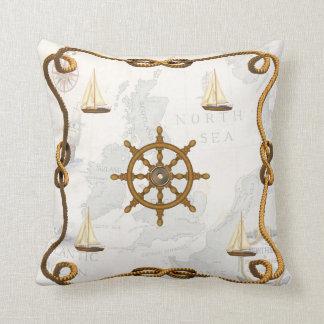 Nautical Ships Wheel and Sailboats Throw Pillow