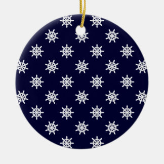 Nautical ship's wheel pattern ceramic ornament