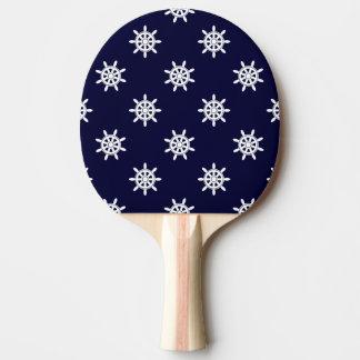 Nautical ship's wheel pattern ping pong paddle