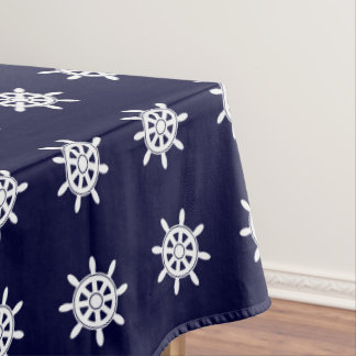 Nautical ship's wheel pattern tablecloth