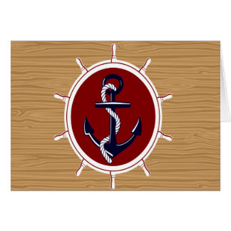 Nautical Ships Wheels Anchor on Wood Grain Card