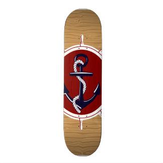 Nautical Ships Wheels Anchor on Wood Grain Custom Skate Board